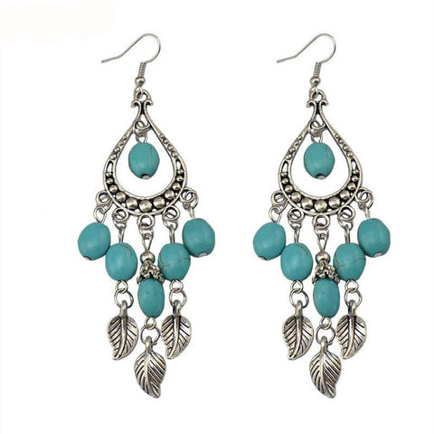 Vintage Silver Color Leaf Beads Natural Blue Stones Long Earrings