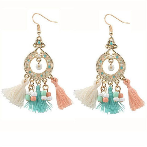 Long Tassels Resin Beads Dangle Earrings