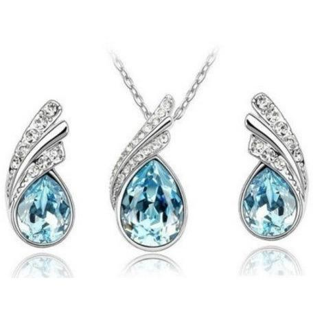 Water Drop Earrings Necklace Set - Abco... Store