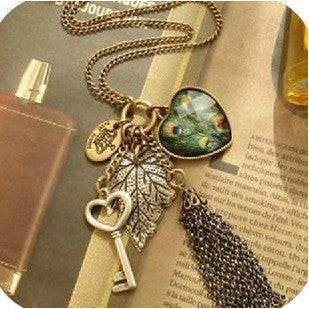 Peacock Feather Tassel Necklace - Abco... Store