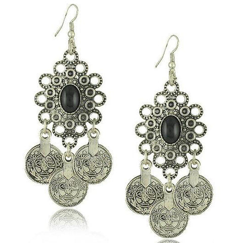 Vintage Antique Silver Turkish Coin Earrings  Turkish Dangle Drop Earring - Abco... Store