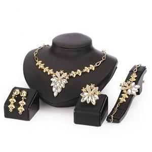 Flower Bunch Crustal Jewelry Set Gold Plated - Abco... Store