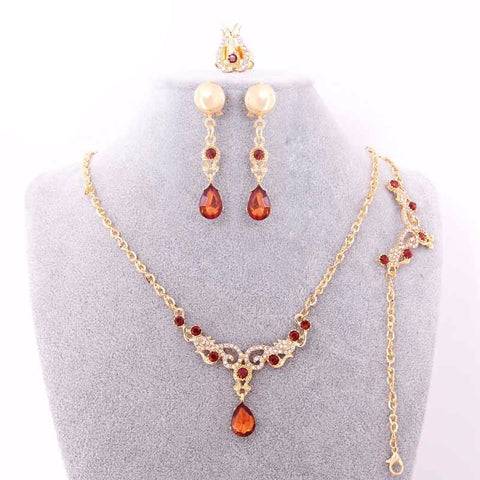 Vintage Hollow Out Water Drop Ruby Jewelry Set - Abco... Store