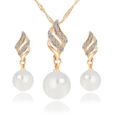 Jewelry Sets Crystal Gold Colour Big Pearl - Abco... Store