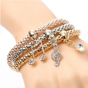 Music Charm Crystal Elastic Multilayer Bracelets - Abco... Store