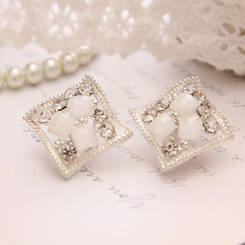 Crystal Silver Plated Stud Earrings - Abco... Store