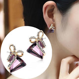 Crystal Triangle Bow Stud Earrings - Abco... Store