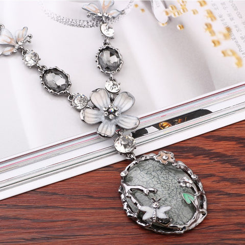 Rhinestone Flower Pendant Necklace - Abco... Store