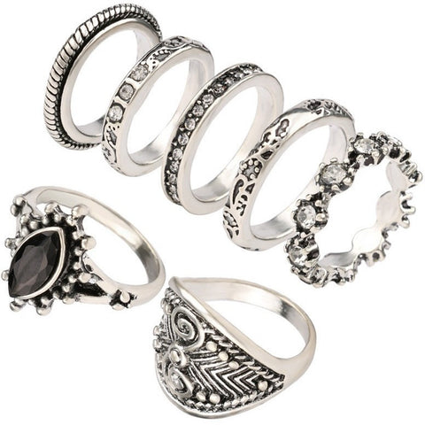 Yunkingdom Vintage Small Size Ring Set Simple Fashion Rings - Black - Abco... Store