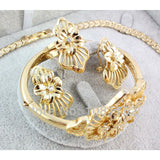 Jewelry Gold Plated Rhinestone Necklace Earring Bangle Ring Jewelry Sets - Abco... Store