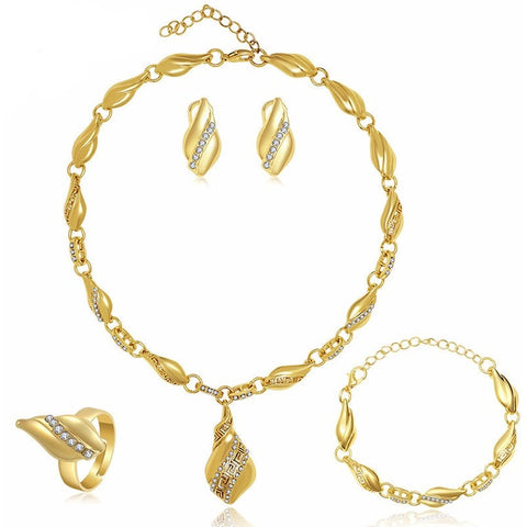 Water Drop Earrings Necklace Jewelry Sets Gold Plated - Abco... Store
