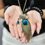 Sweater Necklace Peacock Pendant Long Chain - Abco... Store