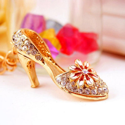 High-heeled Shoe Key Chain Lovely Flower Decor - Abco... Store