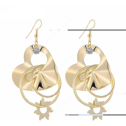 Gold heart peach plated dangle long earrings - Abco... Store