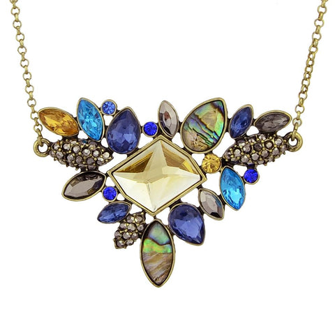 Colorful Rhinestone Boho Flower Vintage Pendant Necklace - Abco... Store