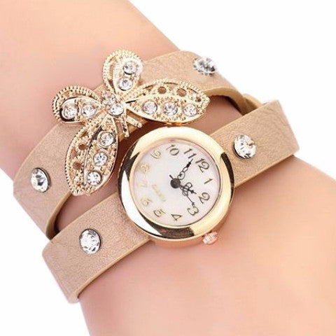 Leather Quartz Butterfly Bracelet Watches - Abco... Store