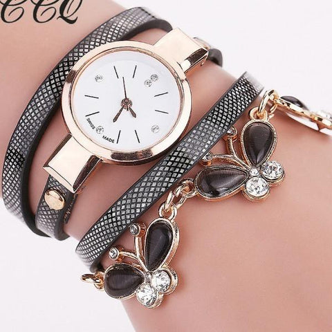 Fashion Women Bracelet Butterfly Pendant Wristwatches Leather Vintage Quartz Watches - Abco... Store