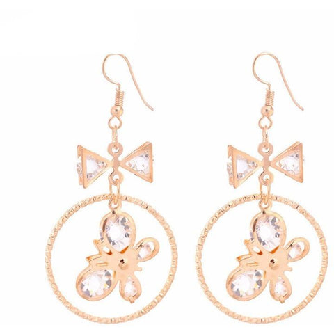 Circle Bow Round Drop  Earrings - Abco... Store