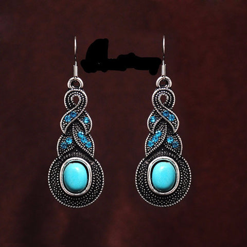 Oval Turquoise Drop Earrings - Abco... Store