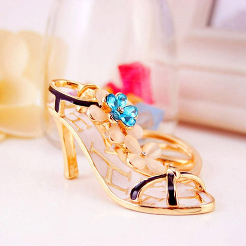 High-heeled Shoe Crystal Rhinestone Charm Key Chain Lovely Flower Decor - Abco... Store