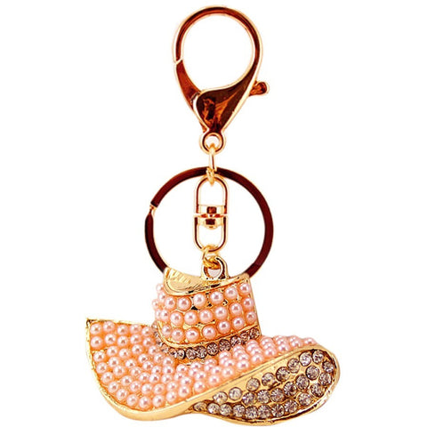 Pearl Rhinestone Hat Cap Key chain Ring Purse Bag Charm Pendant - Abco... Store