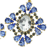 Gold-Color Blue Hollow Crystal Rhinestone Flower Dangle Earrings - Abco... Store