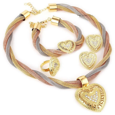 Fine Jewelry Set Heart Beads 3 Color Collar - Abco... Store