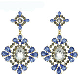 Gold-Color Graceful Charming Blue Hollow Crystal Rhinestone Flower Dangle Earrings - Abco... Store