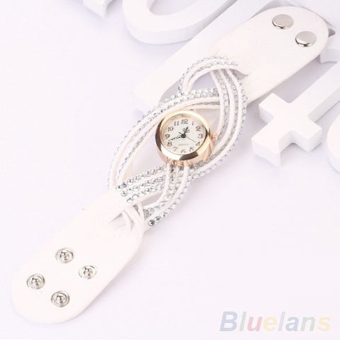 Vintage Rhinestone Weave Twine Multilayer Leather Bracelet wrist watches - Abco... Store