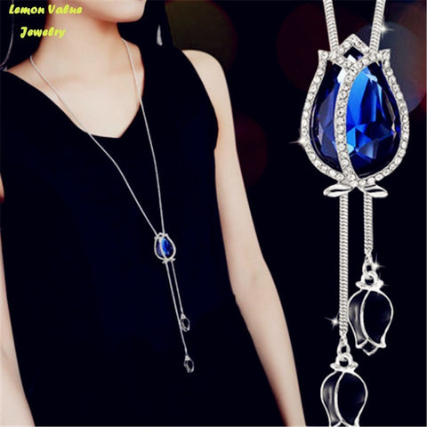 Water Drop Crystal Pendant Rhinestone  Necklace - Abco... Store