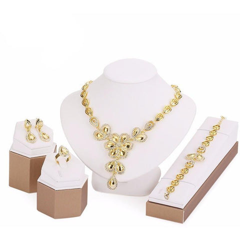 Gold Plated flower Jewelry Set - Abco... Store
