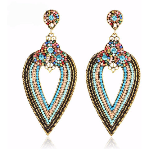 Retro Luxurious Rhinestone Beads Drop Earrings - Abco... Store