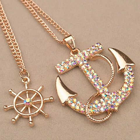 Anchor Pendants Necklace Long Chain - Abco... Store