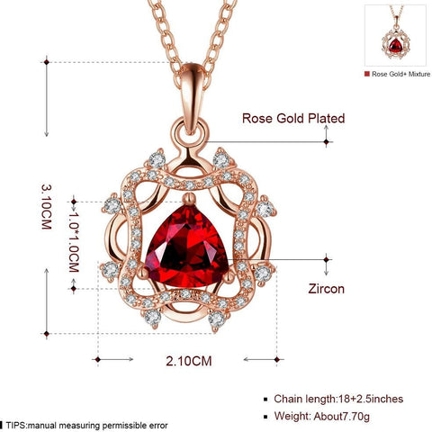 Rose Gold Plated  Geometric Crystal Statement Necklace Long - Abco... Store