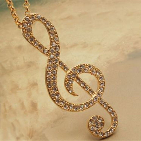 Long Pendant Necklace Gold Crystal Music Note Rhythm - Abco... Store