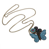 Vintage Crystal Flower Double Butterfly Necklace - Abco... Store