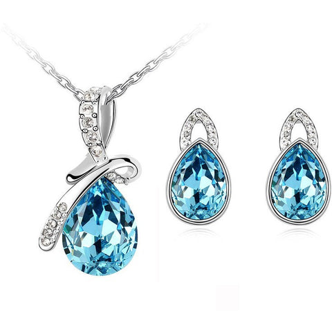 Platinum plated tear drop pendant necklace earrings jewelry - Abco... Store