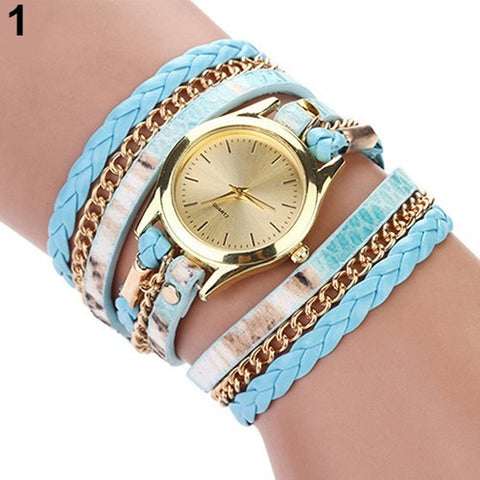 Leopard Wrap Braided Faux Leather Analog Quartz Bracelet Wrist Watch - Abco... Store