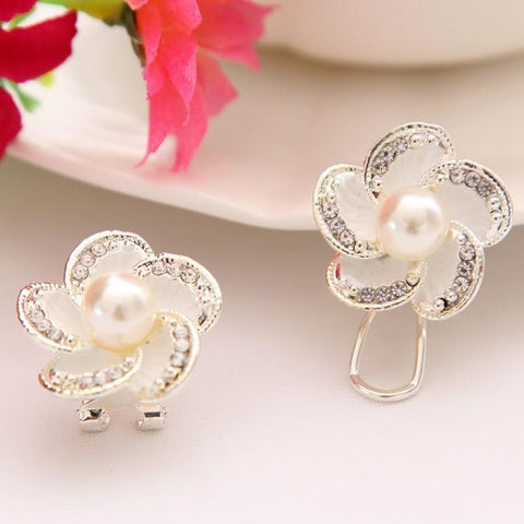 Flower design silver plated stud earrings - Abco... Store