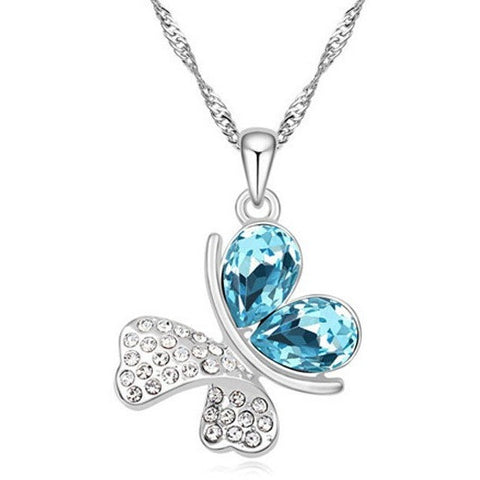 Silver Plated Butterfly crystal Necklace pendant - Abco... Store
