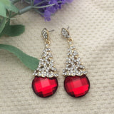 Long Dangle Drop Red Crystal Earrings - Abco... Store