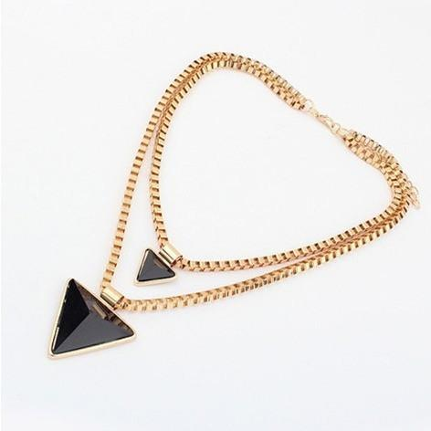 Geometric Triangle  Double Layered Collar Necklace - Abco... Store