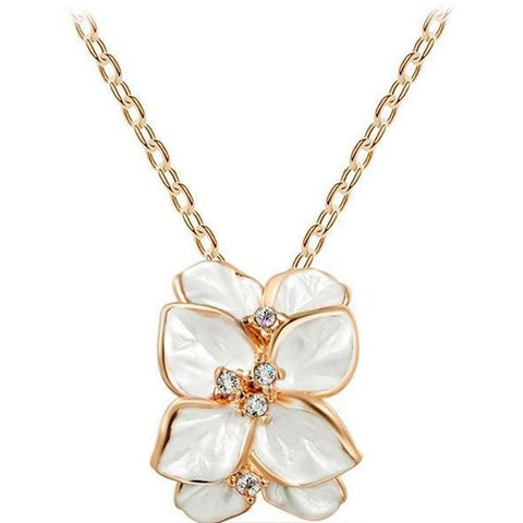 Rose Gold Plated Austrian Crystal White Enamel Flower/Wedding Necklace - Abco... Store