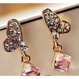 Crystal square water cube butterfly earrings - Abco... Store