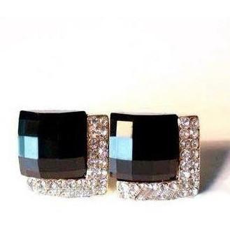 Crystals Square Earrings Midnight - Abco... Store