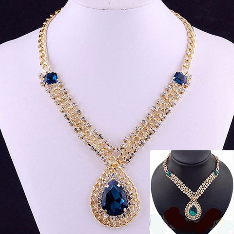 Nobility Gold Pleated Blue Sapphire Pendant Necklace - Abco... Store