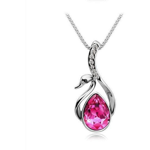 Silver Plated Swan Crystal/Rhinestone Necklaces & Pendants For Women Fashion Jewelry - Abco... Store