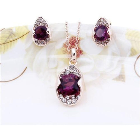 Crystal Noble Elegance Jewelry Necklace Earrings Set - Abco... Store