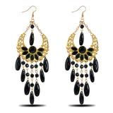 Vintage Style Resin Beads Tassel Drop Earrings