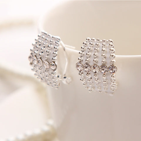 White Crystal Stud Earrings - Abco... Store